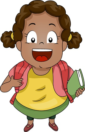 Top View Illustration of a Kid Girl Student wearing a Backpack carrying a Book illustration