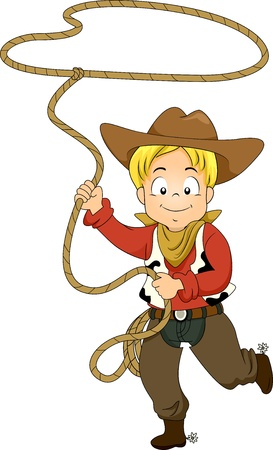 role play: Illustration of a Kid Boy wearing a Cowboy Costume while swinging a Rope