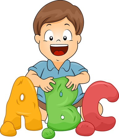 Illustration of a Little Kid Boy Molding ABC letters from Clay Stock Photo