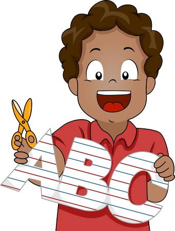 black boy: Illustration of Little Kid Boy Cut Out ABC Letters from Paper