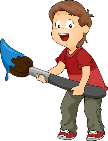 oversize: Illustration of Little Kid Boy Carrying a Big Art Brush Stock Photo