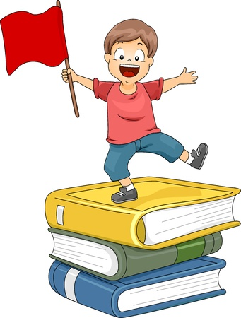 oversized: Illustration of a Little Kid Boy Standing on Top of Pile of Big Books waving a Red Flag Stock Photo