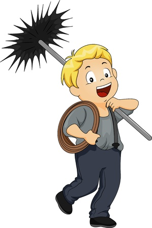 clean off: Illustration of a Little Kid Boy Chimney Sweep