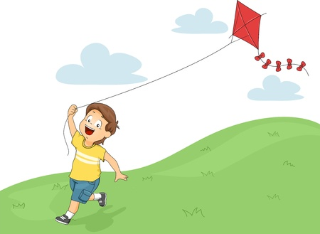 Illustration of a Running Little Kid Boy while Flying a Kite Stock Photo