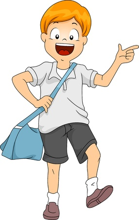 pre school: Illustration of Little Kid Boy Student Carrying a Sling Bag Stock Photo
