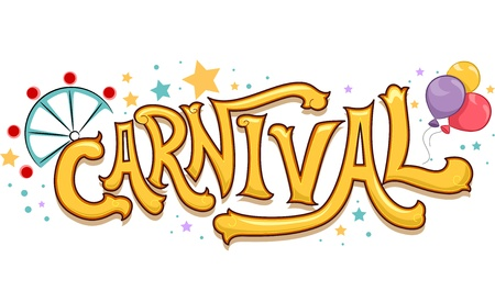 merriment: Illustration of Carnival Text with Stars and a Ferris Wheel