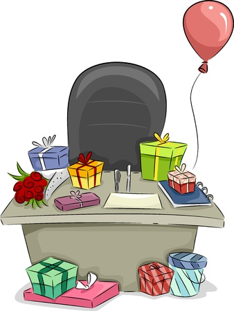 merriment: Illustration of Boss Table with Gifts