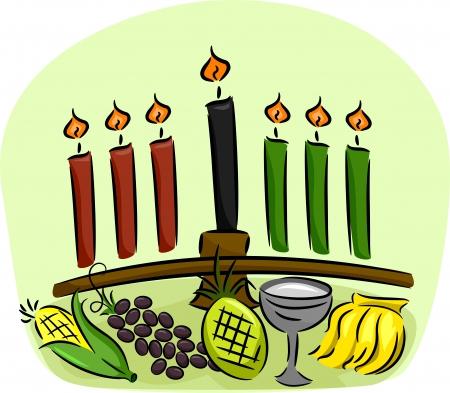 elote caricatura: Ilustración de los símbolos de Kwanzaa