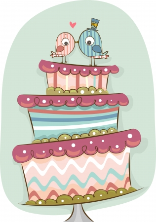 Illustration of Modern Wedding Cake in Retro Colors with Bride and Groom Birds illustration