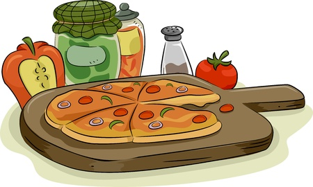 toppings: Illustration of Pizza in Wooden Pan with Spices and Toppings