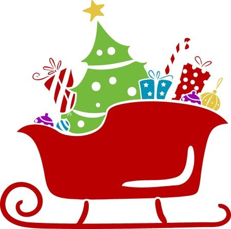 papa noel en trineo: Ilustración de la Navidad del trineo de Santa con los regalos de la plantilla