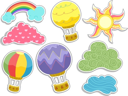 sun clipart: Illustration of Hot Air Balloons and Clouds Sticker Designs