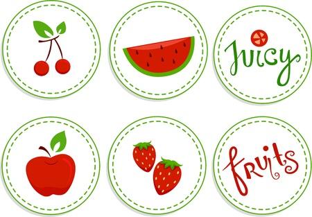 Illustration of Red Fruits Sticker Designs