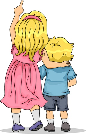 brother and sister: Back View Illustration of Girl and Boy Siblings Looking Up Stock Photo