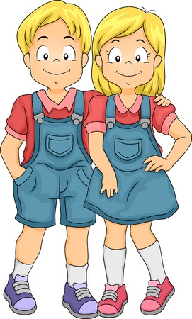 twins: Illustration of Little Boy and Girl Twin Siblings Stock Photo