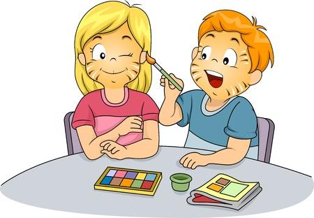 peinture visage: Illustration de sexe masculin et f?nin enfants faisant Face Painting
