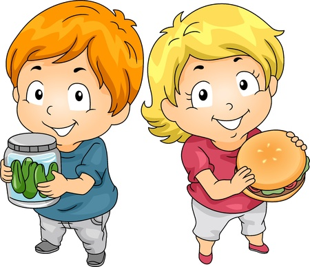 pickles: Illustration of Little Male Kid Carrying a Jar of Pickles and a Little Female Kid holding a Hamburger