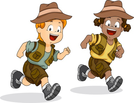 kid illustration: Illustration of Male and Female Kids Running Excited for Safari Adventures Stock Photo