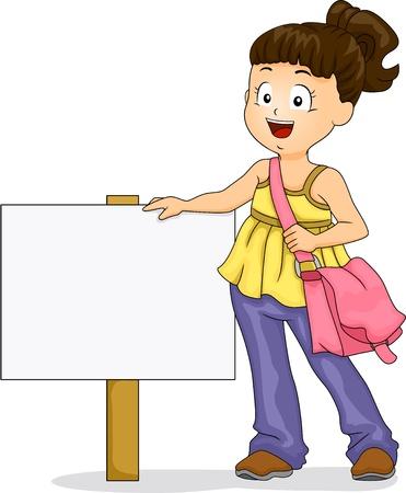 schooler: Illustration of Little Kid Girl wearing a Sling Bag standing beside a Signage Stock Photo