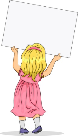 rear view girl: Back View Illustration of Little Kid Girl carrying a Blank Board