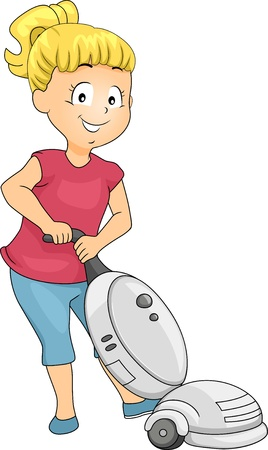 vacuum cleaner: Illustration of Little Kid Girl Cleaning using Vacuum Cleaner Stock Photo