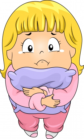 sad lonely girl: Top View Illustration of a Little Kid Girl Hugging a Pillow while Crying