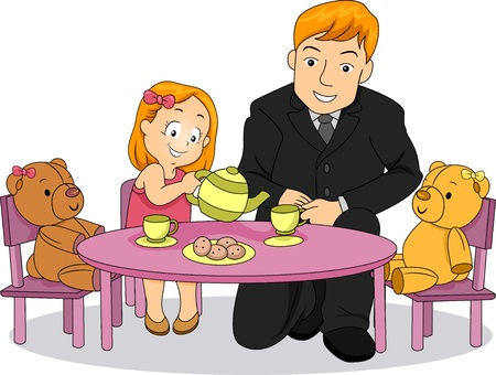 Illustration of Little Kid Girl playing Tea Party with her Father Stock Illustration - 20571097