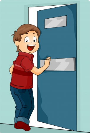 portone: Illustrazione di un bambino piccolo ragazzo spingendo una porta per entrare Archivio Fotografico
