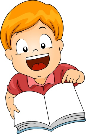 early childhood: Illustration of a Little Kid Boy Carrying a Open Book and Pointing to its Page