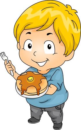 Illustratie van Little Kid Jongen met een plaat van pannenkoeken Stockfoto - 20570992