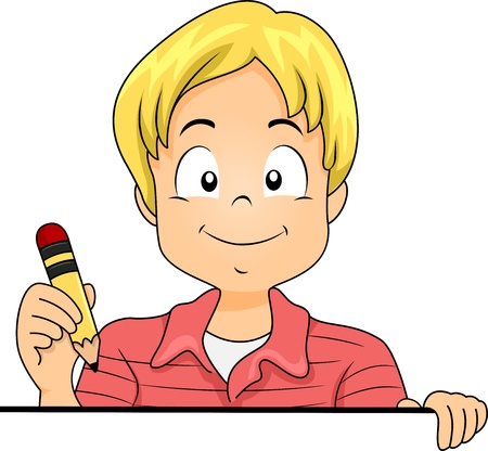 clip art people: Illustration of a Little Kid Boy holding a Pencil Standing behind a Blank Board