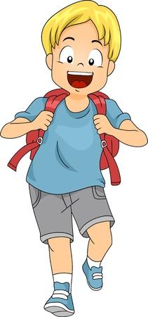 niño con mochila: Ilustración de Little Kid Boy estudiante que lleva una mochila