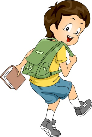 sideview: Sideview Illustration of a Little Kid Boy Student Carrying a Backpack and a Book