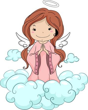 ange gardien: Illustration d'un ange de pri�re de fille � genoux sur les nuages Banque d'images