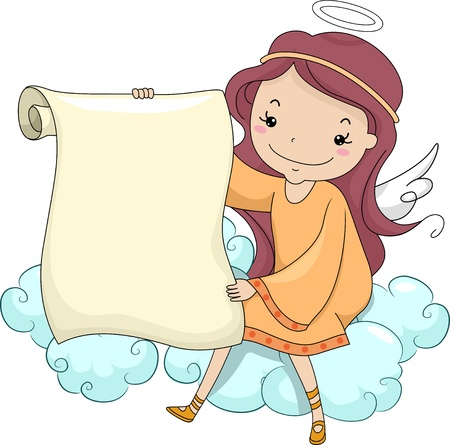 Illustration of a Girl Angel holding a Blank Scroll while Sitting on a Cloud illustration