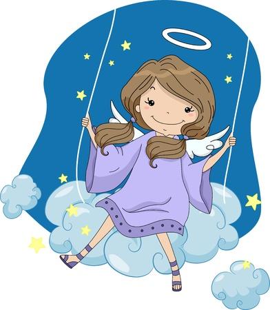 ange gardien: Illustration d'un ange de fille sur une balançoire Cloud