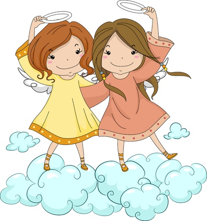Illustration of Angel Sisters Holding Their Halo illustration