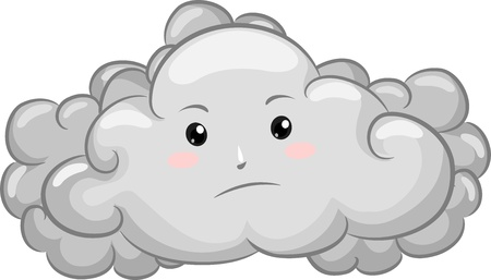gloomy: Illustration of Gloomy Dark Cloud Mascot