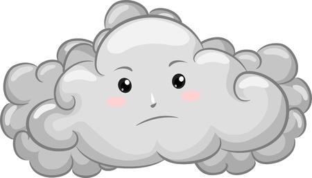 Illustration von Gloomy Dark Cloud Mascot
