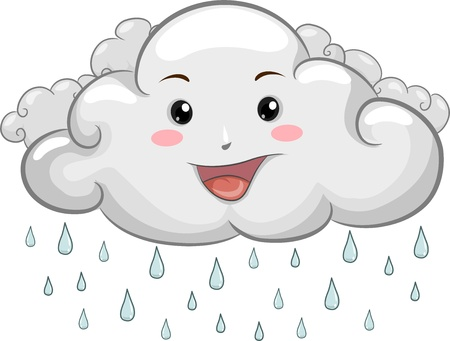 anthropomorphic: Illustration of a Happy Cloud Mascot with Raindrops