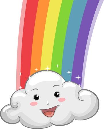 anthropomorphic: Illustration of Happy Cloud Mascot with Rainbow Stock Photo