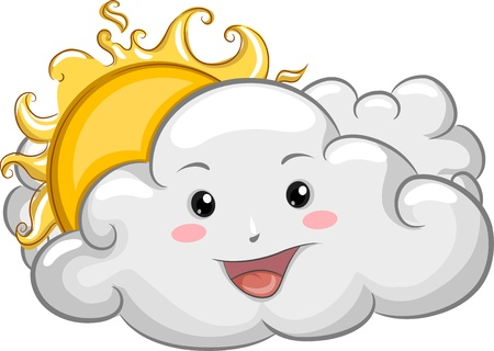 sun clipart: Illustration of a Happy Cloud Mascot with Sun