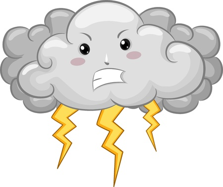 thunder: Illustration of Angry Cloud Mascot with Lightning Stock Photo