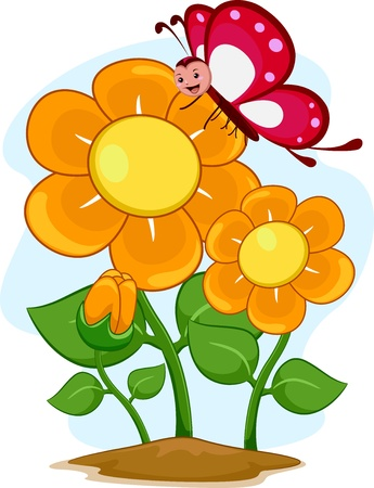 Illustration of a Happy Butterfly Mascot with Flowers illustration