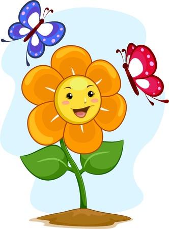flower cartoon: Ilustraci�n de la mascota feliz de la flor con las mariposas