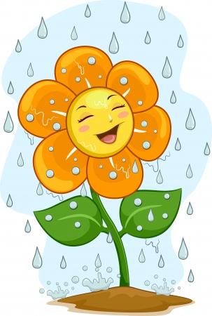Ilustración de una mascota feliz flor bajo la lluvia