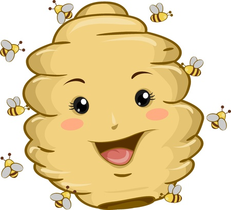 Illustration of Beehive Mascot with Bees illustration