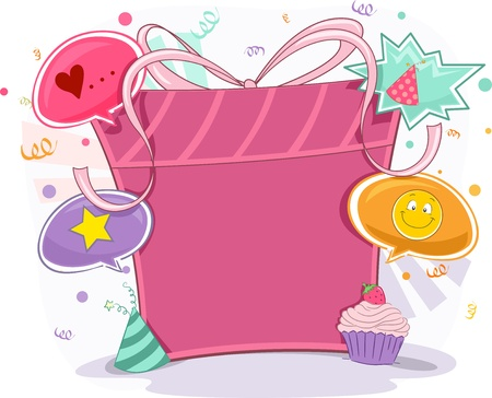 merrymaking: Background Illustration of Birthday Gift Frame