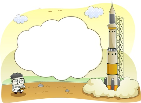 rocketship: Background Illustration of Scientist Launching a Rocketship with Cloud Frame