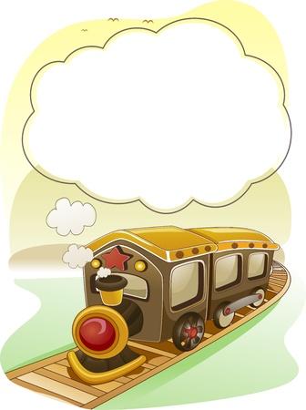 tren caricatura: Ilustración de fondo de tren con humo como Frame